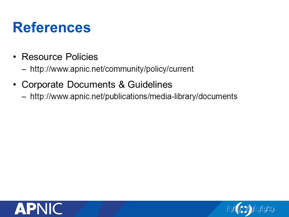 References Resource Policies –  Corporate Documents & Guidelines –