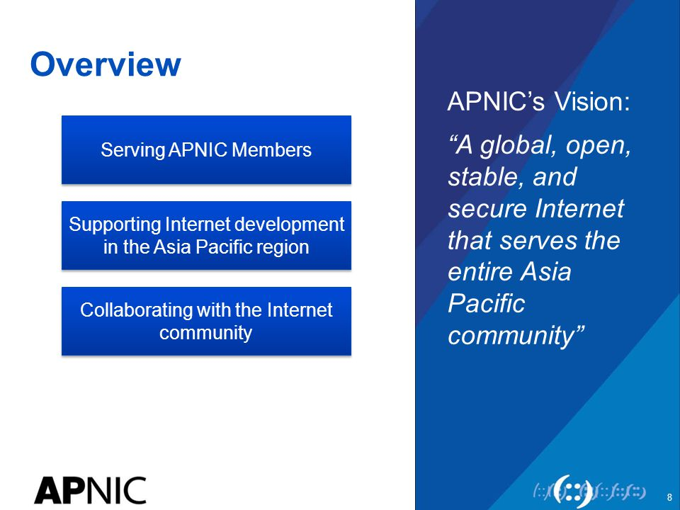 Overview APNIC's Vision: A global, open, stable, and secure Internet that serves the entire Asia Pacific community 8 Serving APNIC Members Supporting Internet development in the Asia Pacific region Collaborating with the Internet community