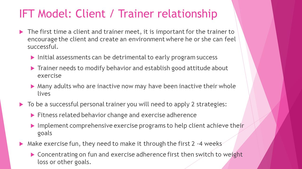 IFT Model: Client / Trainer relationship  The first time a client and  trainer meet