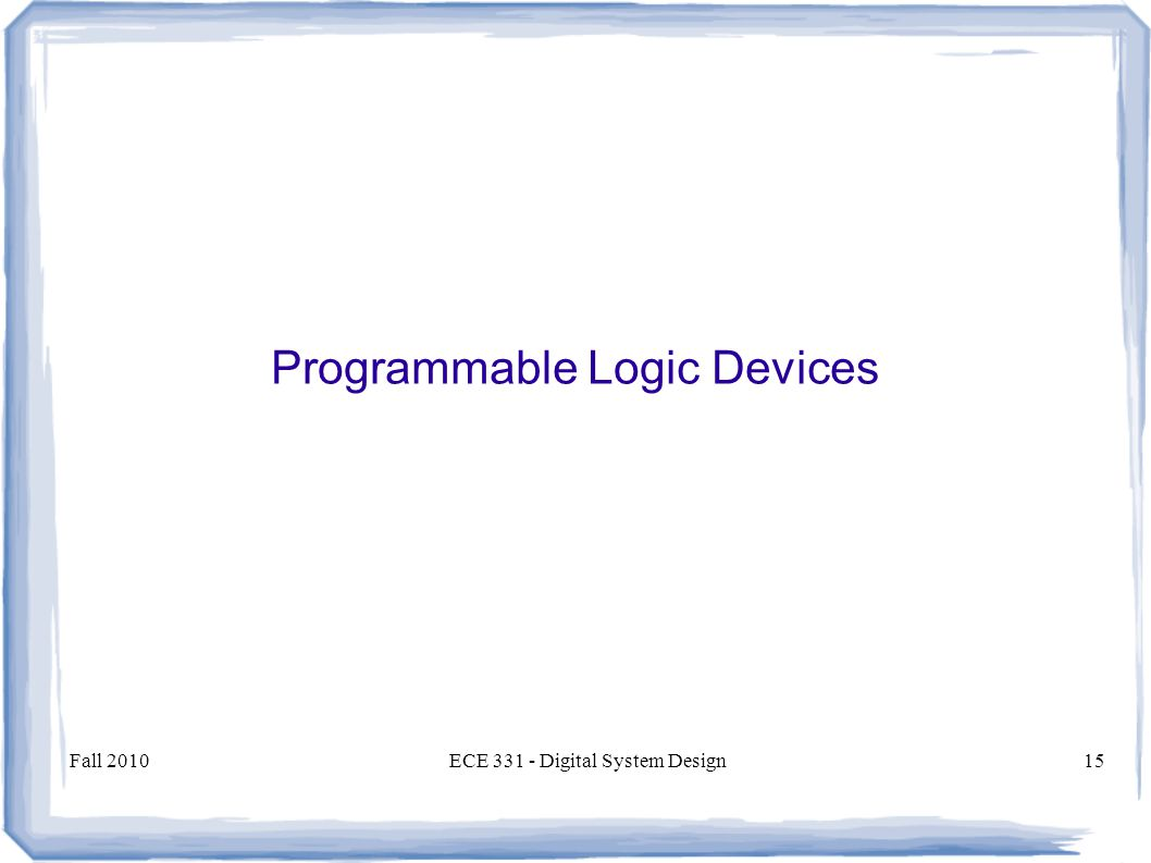 Fall 2010ECE Digital System Design15 Programmable Logic Devices