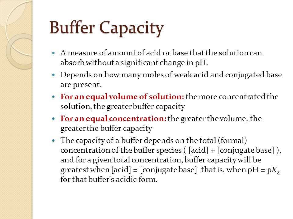Buffer Capacity A measure of amount of acid or base that the solution can absorb without a significant change in pH.