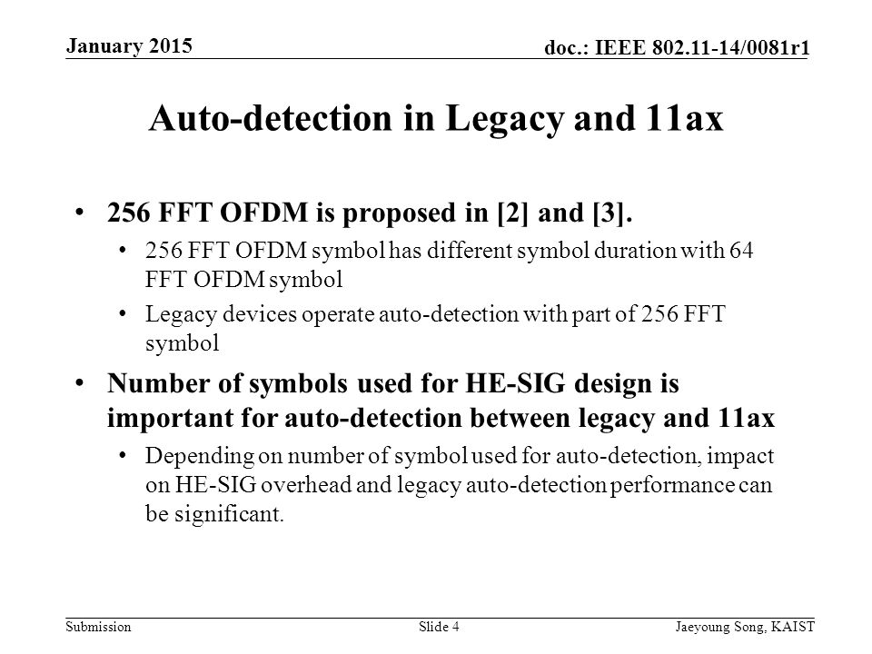 Submission doc.: IEEE /0081r1 Auto-detection in Legacy and 11ax 256 FFT OFDM is proposed in [2] and [3].
