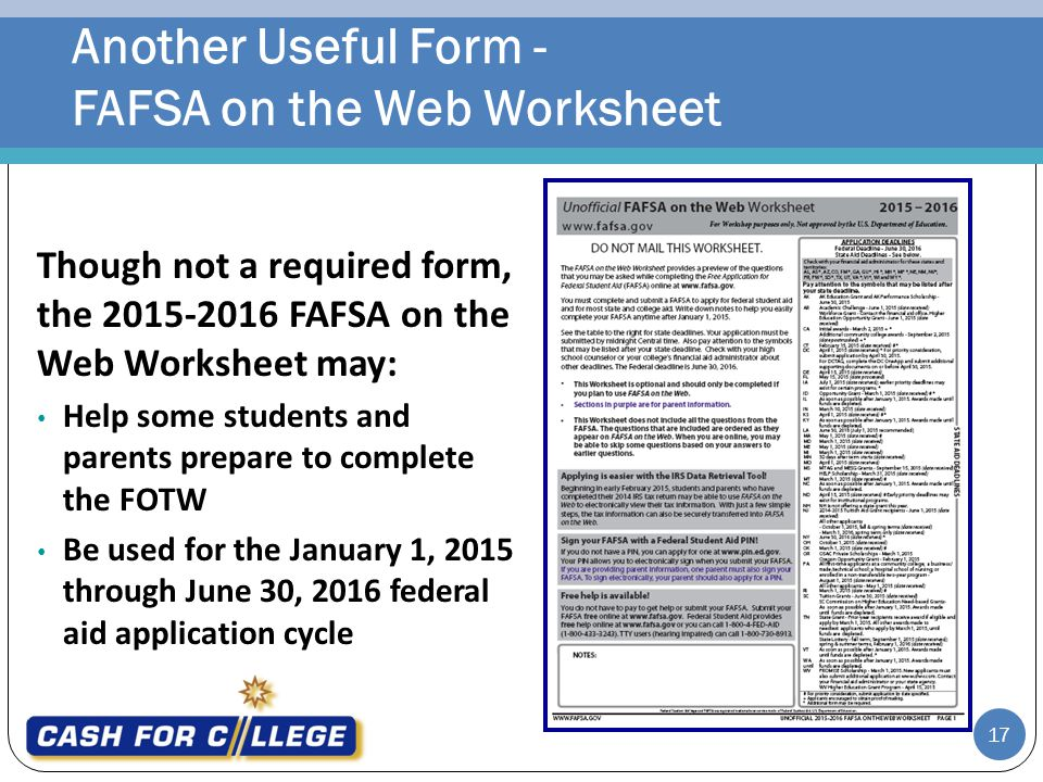 Worksheet Fafsa On The Web Worksheet applying for financial aid sponsored by presented ppt download another useful form fafsa on the web worksheet though not a required the