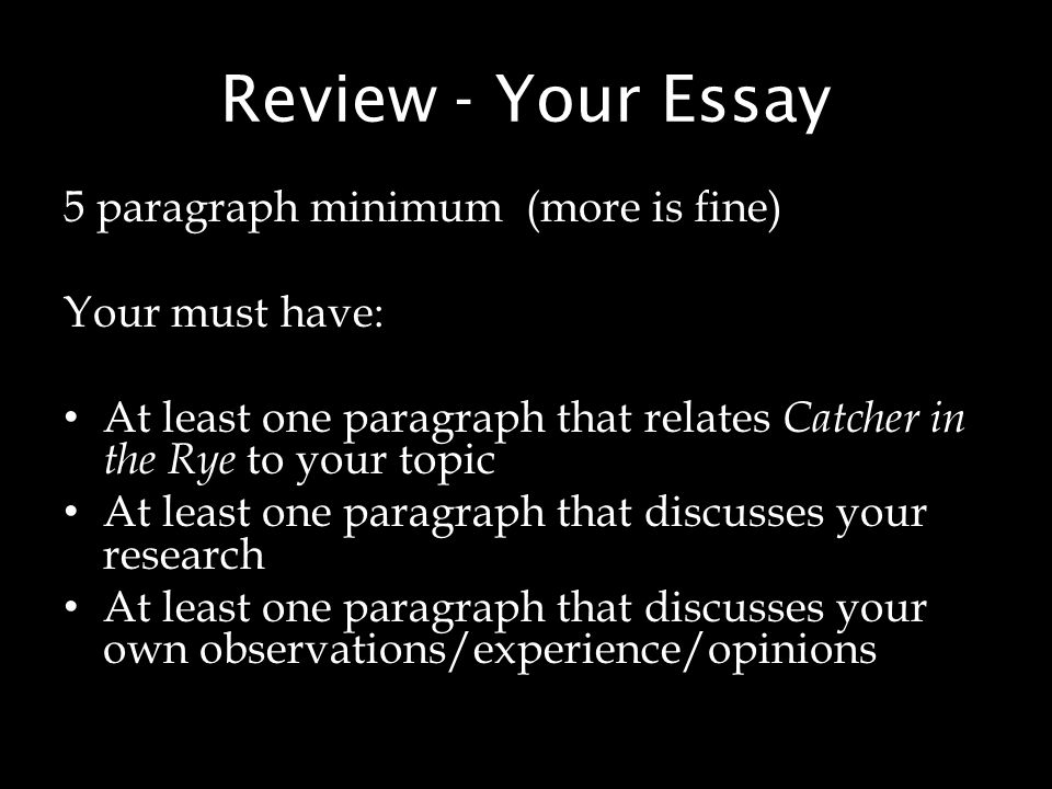 literary essay on the catcher in the rye Literary analysis: the catcher in the rye the catcher in the rye starts off in the present day with holden caulfield open essay prompt.