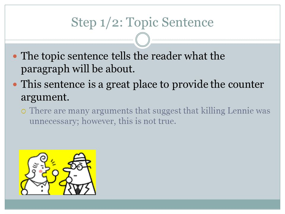 Step 1/2: Topic Sentence The topic sentence tells the reader what the paragraph will be about.