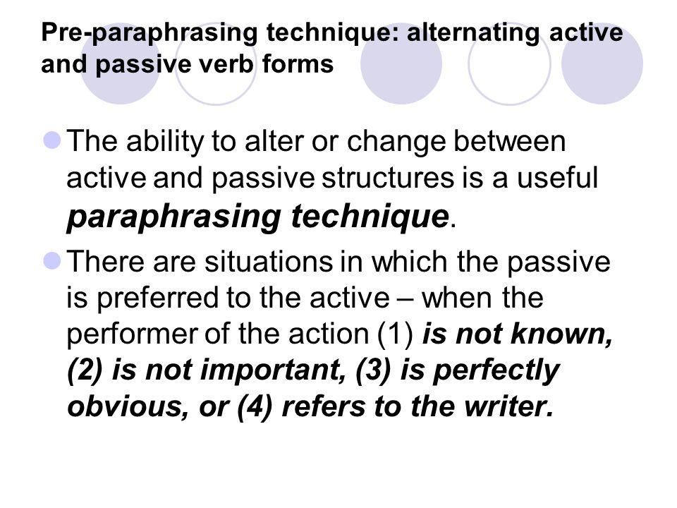 Paraphrase technique