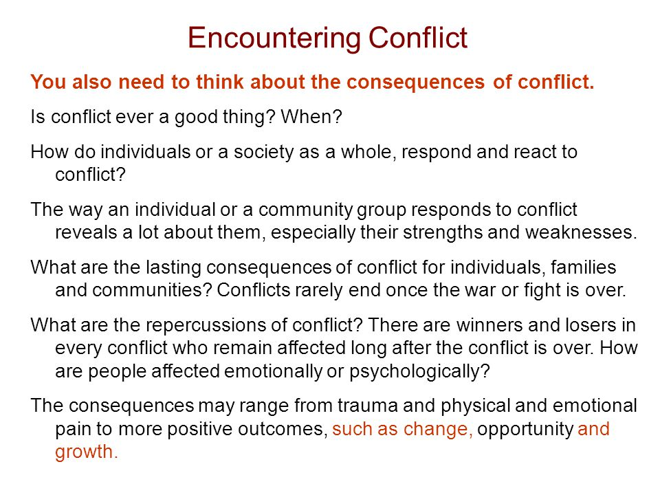 conflict occurs between the powerful and