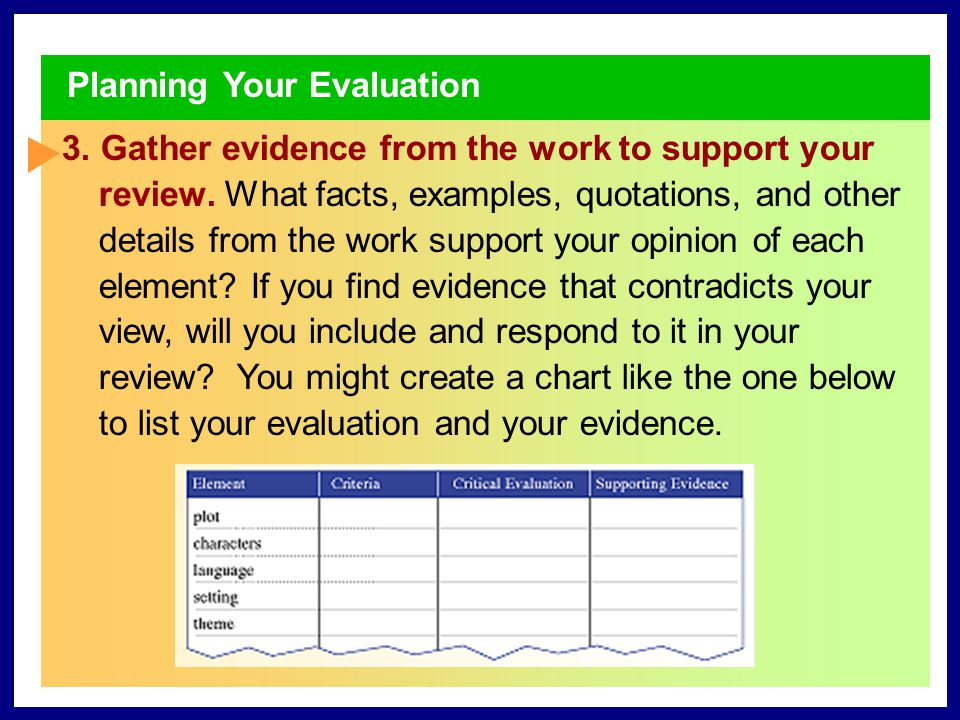 Planning Your Evaluation 1. Explore your overall reaction to the work.