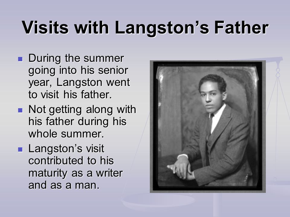 Visits with Langston's Father During the summer going into his senior year, Langston went to visit his father.