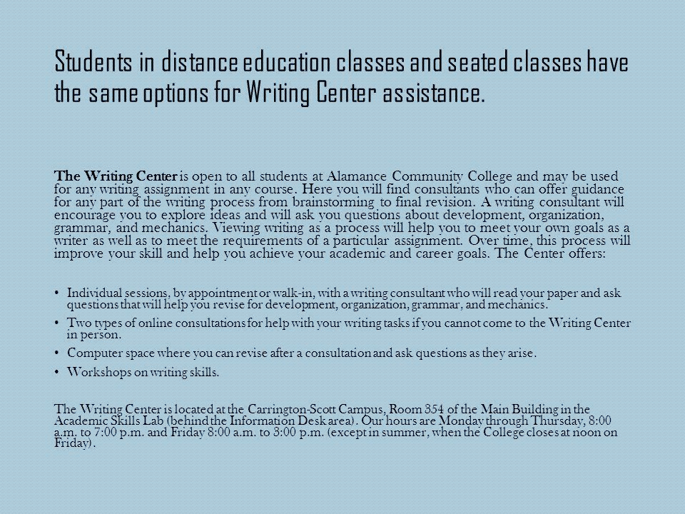Students in distance education classes and seated classes have the same options for Writing Center assistance.