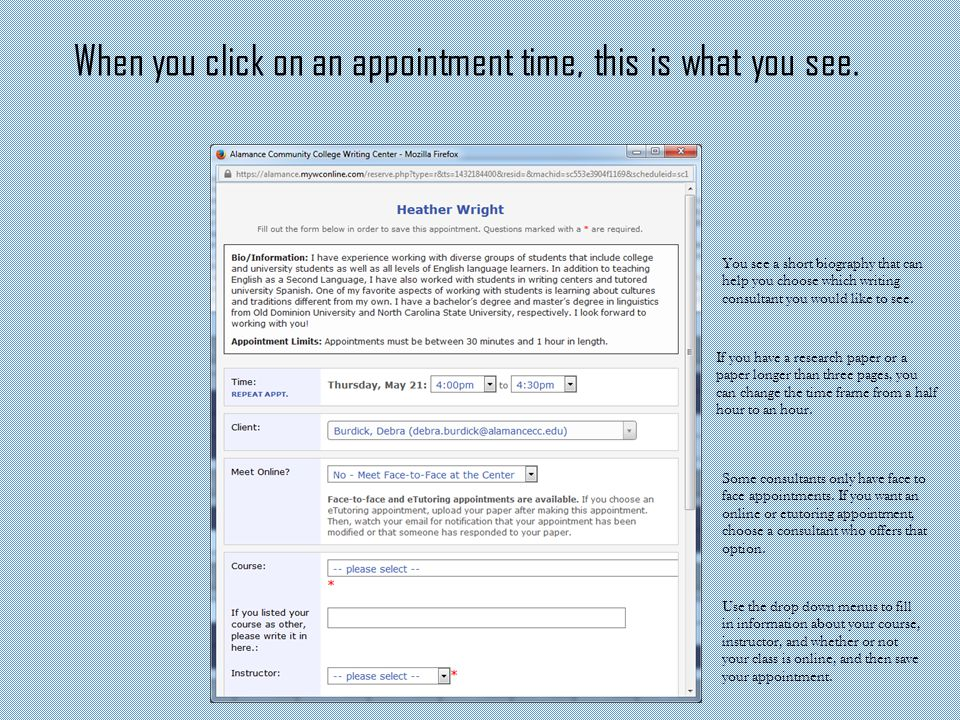 When you click on an appointment time, this is what you see.