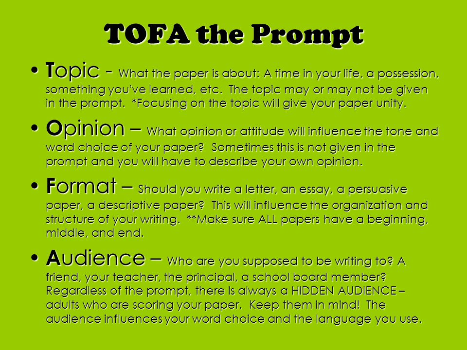 TOFA the Prompt T opic - What the paper is about: A time in your life, a possession, something you've learned, etc.