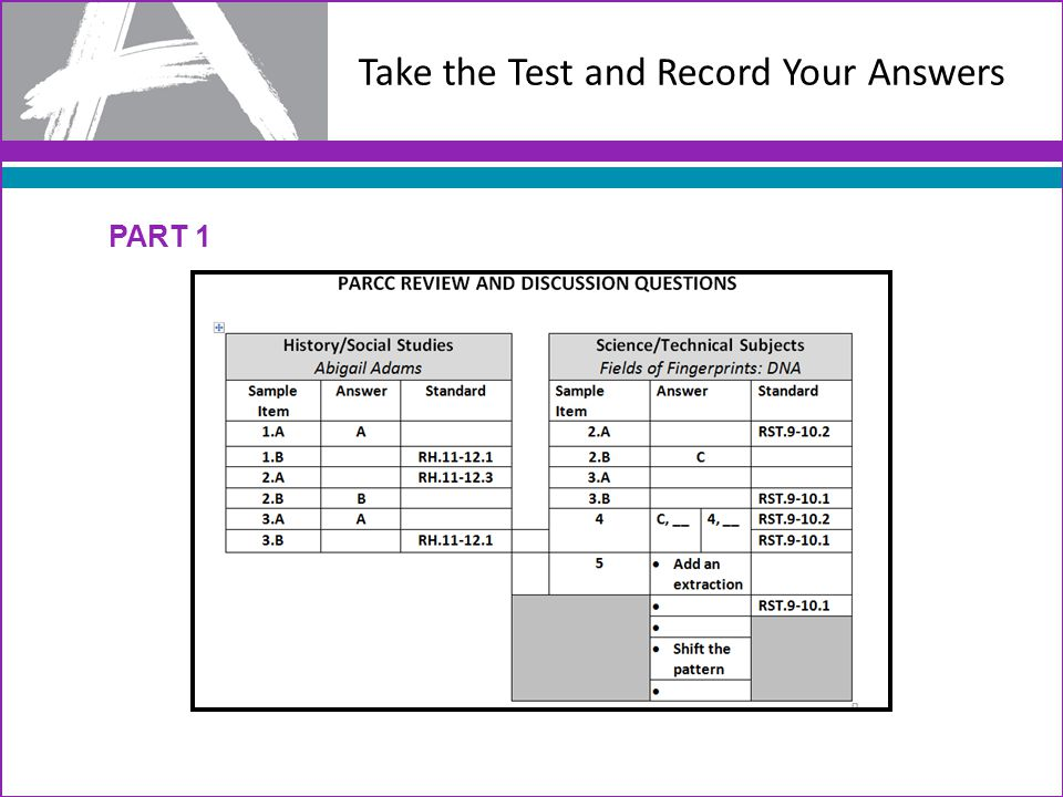 Take the Test and Record Your Answers PART 1