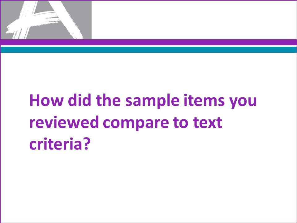 How did the sample items you reviewed compare to text criteria