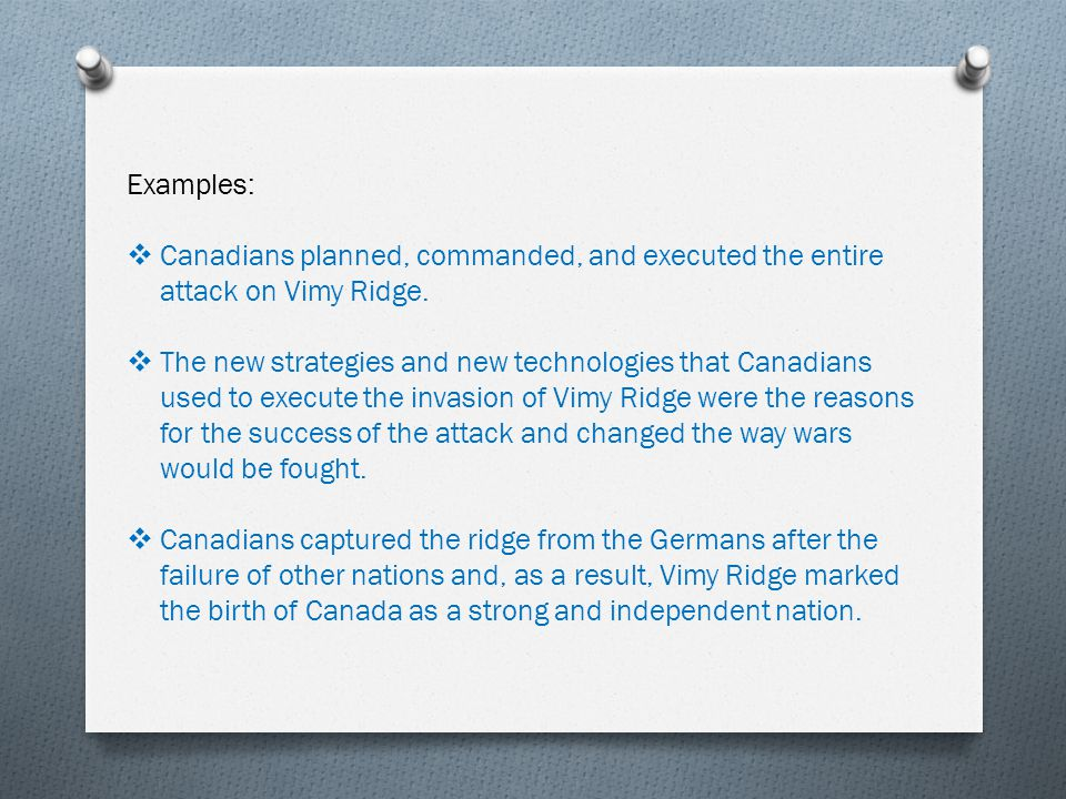 paragraph essay outline part i paragraph introductory examples iuml129para canadians planned commanded and executed the entire attack on vimy ridge