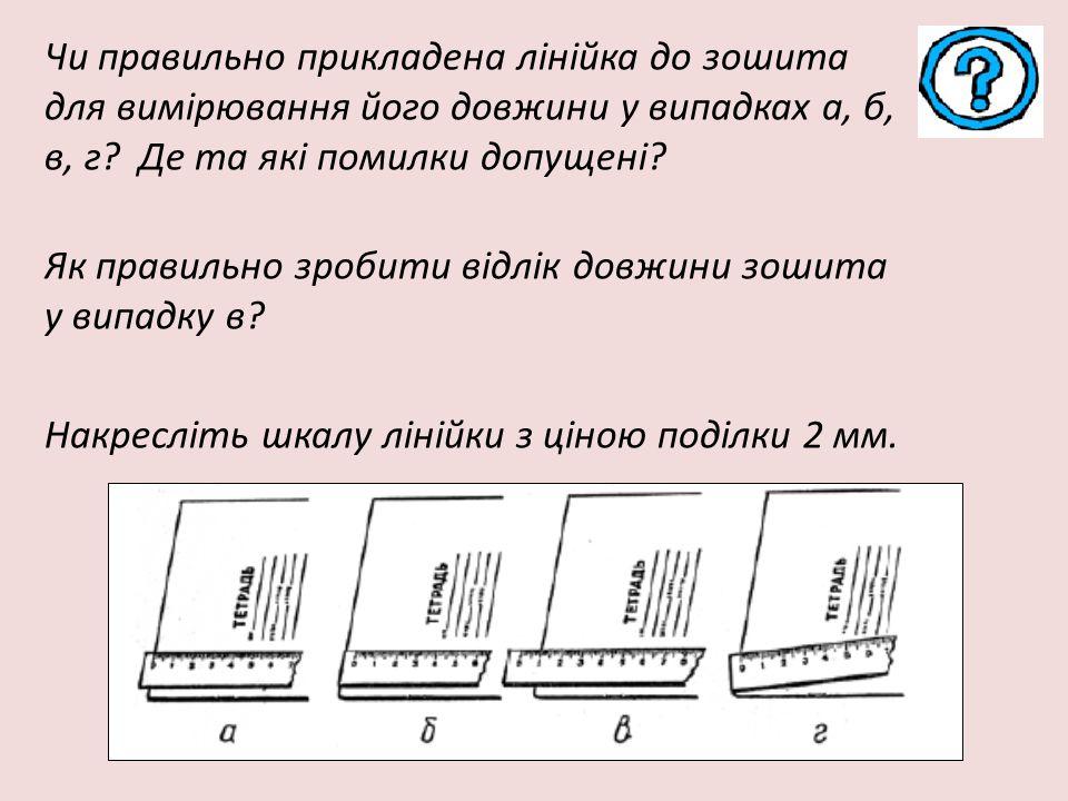 Чи правильно прикладена лінійка до зошита для вимірювання його довжини у випадках а, б, в, г? Де та які помилки допущені? Як правильно зробити відлік