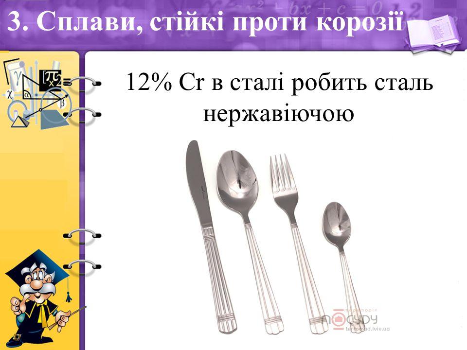 3. Сплави, стійкі проти корозії 12% Сr в сталі робить сталь нержавіючою