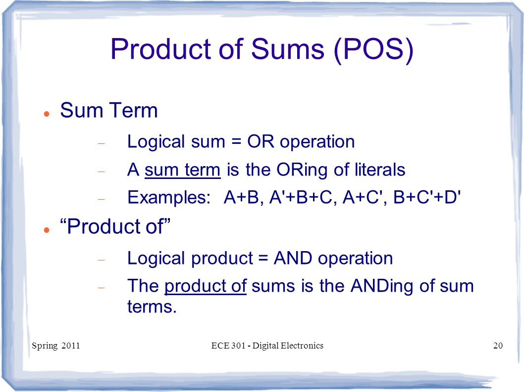 Spring 2011ECE Digital Electronics20 Product of Sums (POS) Sum Term  Logical sum = OR operation  A sum term is the ORing of literals  Examples: A+B, A +B+C, A+C , B+C +D Product of  Logical product = AND operation  The product of sums is the ANDing of sum terms.