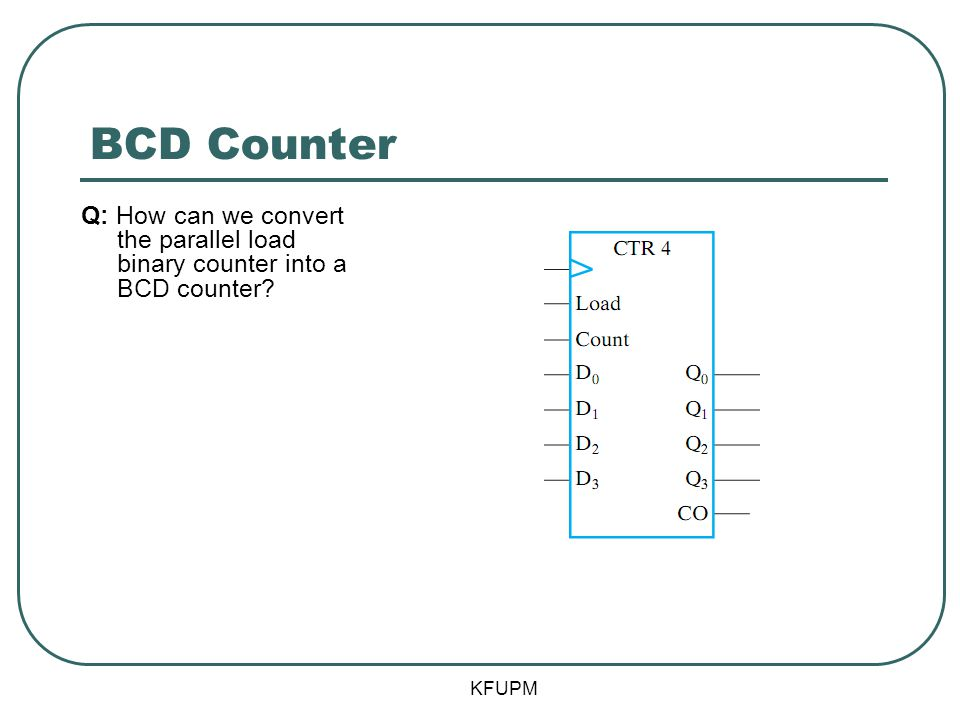BCD Counter KFUPM Q: How can we convert the parallel load binary counter into a BCD counter