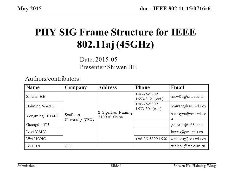 doc.: IEEE /0716r6 Submission PHY SIG Frame Structure for IEEE aj (45GHz) Authors/contributors: Date: Presenter: Shiwen HE May 2015 Shiwen He, Haiming Wang Slide 1