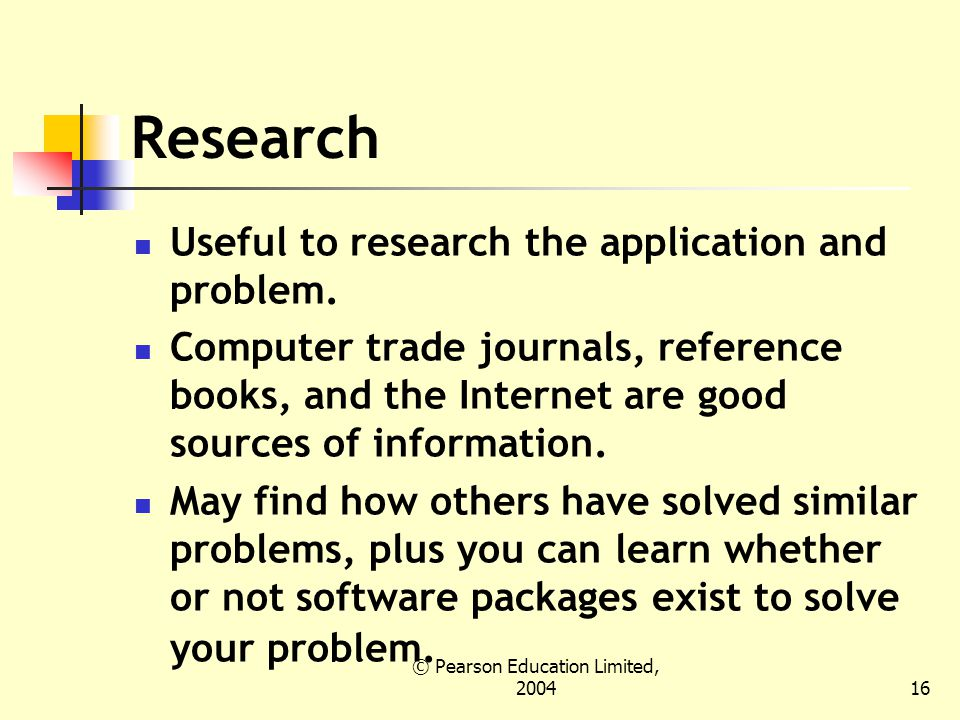 © Pearson Education Limited, Research Useful to research the application and problem.