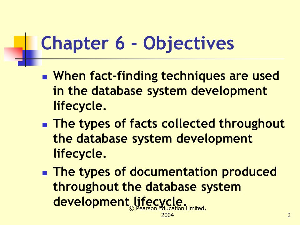 © Pearson Education Limited, Chapter 6 - Objectives When fact-finding techniques are used in the database system development lifecycle.