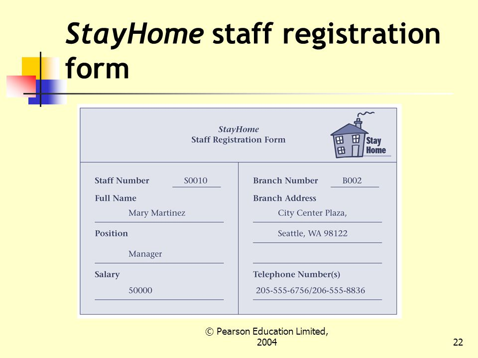 © Pearson Education Limited, StayHome staff registration form