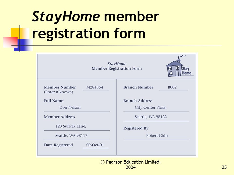 © Pearson Education Limited, StayHome member registration form