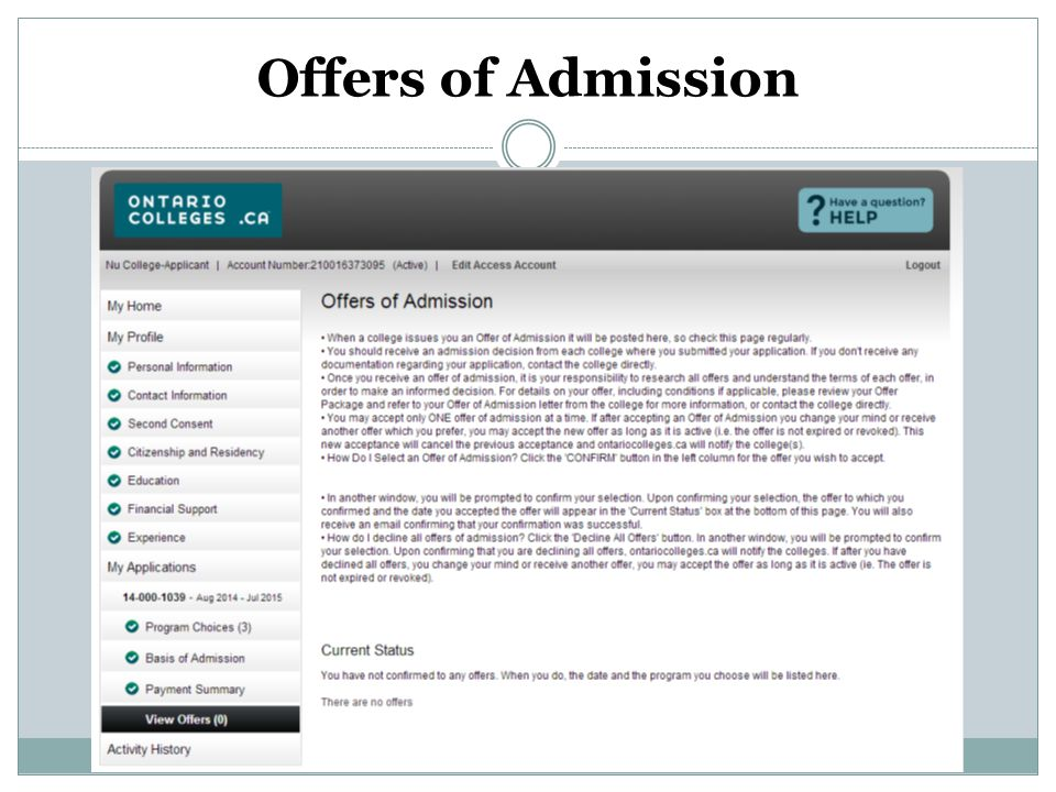 Offers of Admission