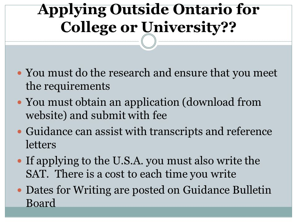 Applying Outside Ontario for College or University .