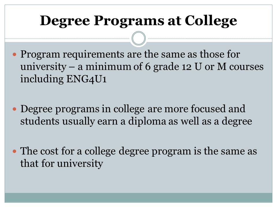 Degree Programs at College Program requirements are the same as those for university – a minimum of 6 grade 12 U or M courses including ENG4U1 Degree programs in college are more focused and students usually earn a diploma as well as a degree The cost for a college degree program is the same as that for university