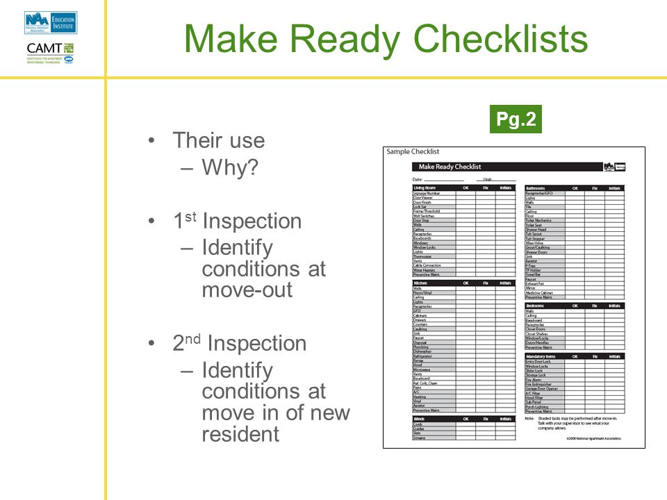 make ready check list