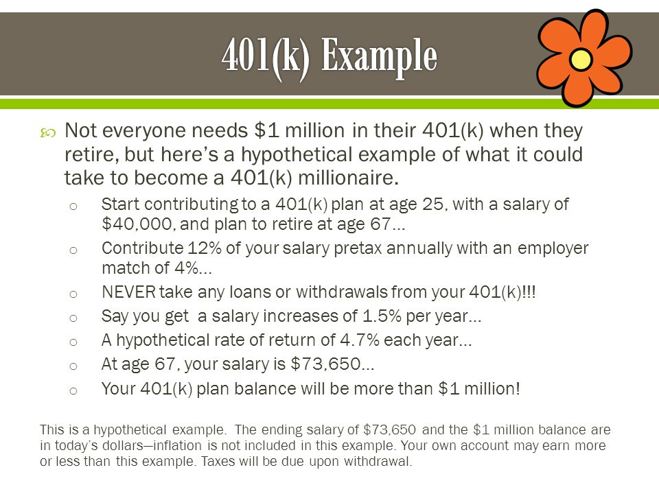  Not everyone needs $1 million in their 401(k) when they retire, but here's a hypothetical example of what it could take to become a 401(k) millionaire.