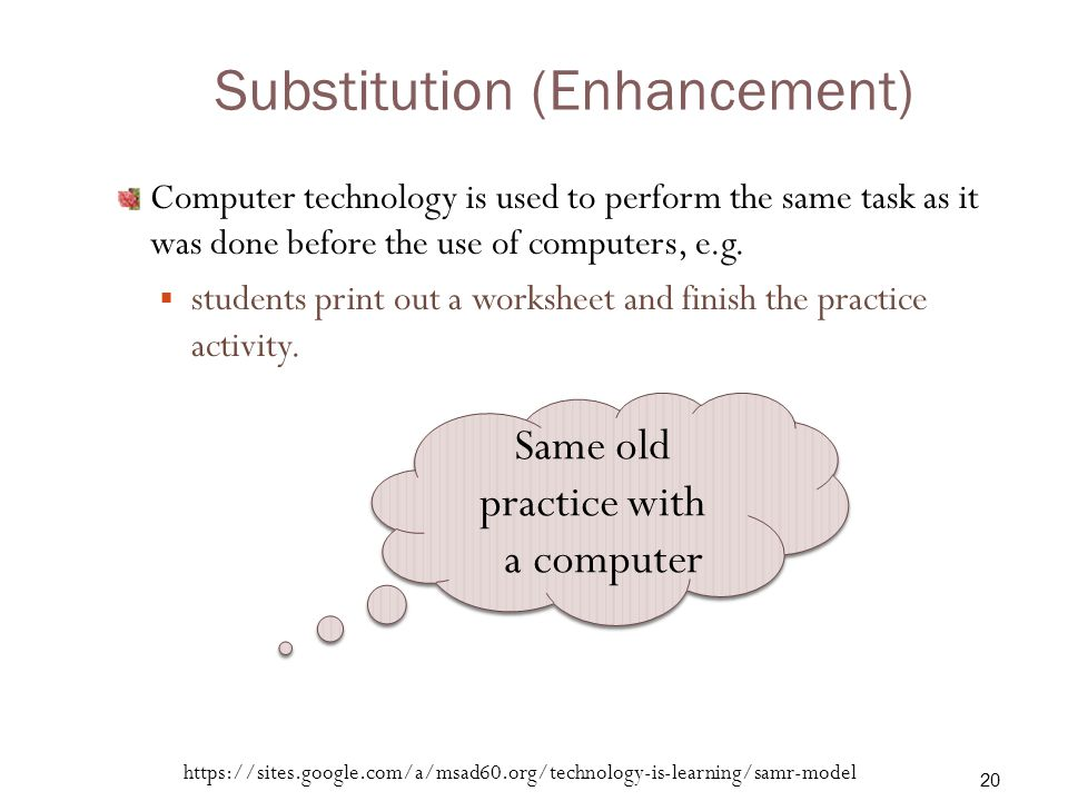 Substitution (Enhancement) Computer technology is used to perform the same task as it was done before the use of computers, e.g.