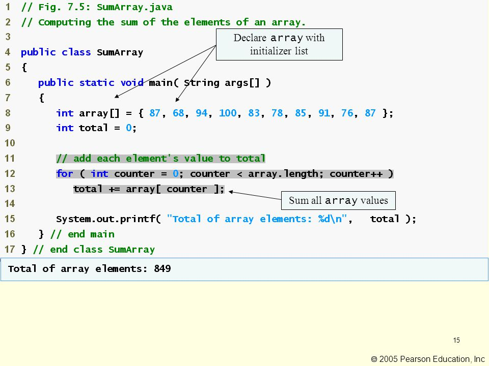 15 Declare array with initializer list Sum all array values  2005 Pearson Education, Inc