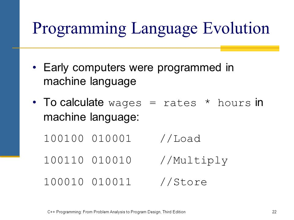 Programming Language Evolution Early computers were programmed in machine language To calculate wages = rates * hours in machine language: //Load //Multiply //Store C++ Programming: From Problem Analysis to Program Design, Third Edition22