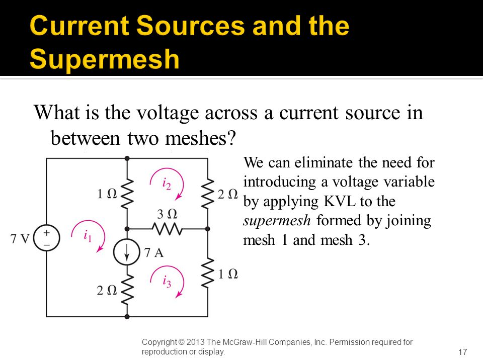 What is the voltage across a current source in between two meshes.