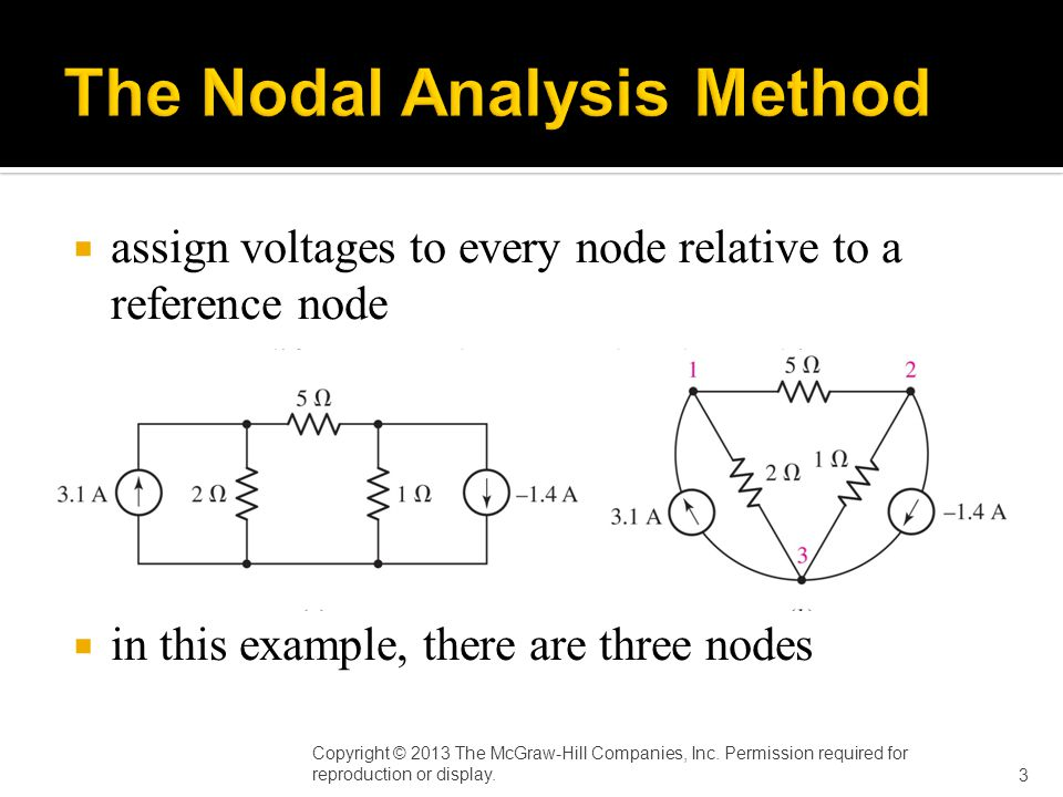  assign voltages to every node relative to a reference node  in this example, there are three nodes Copyright © 2013 The McGraw-Hill Companies, Inc.