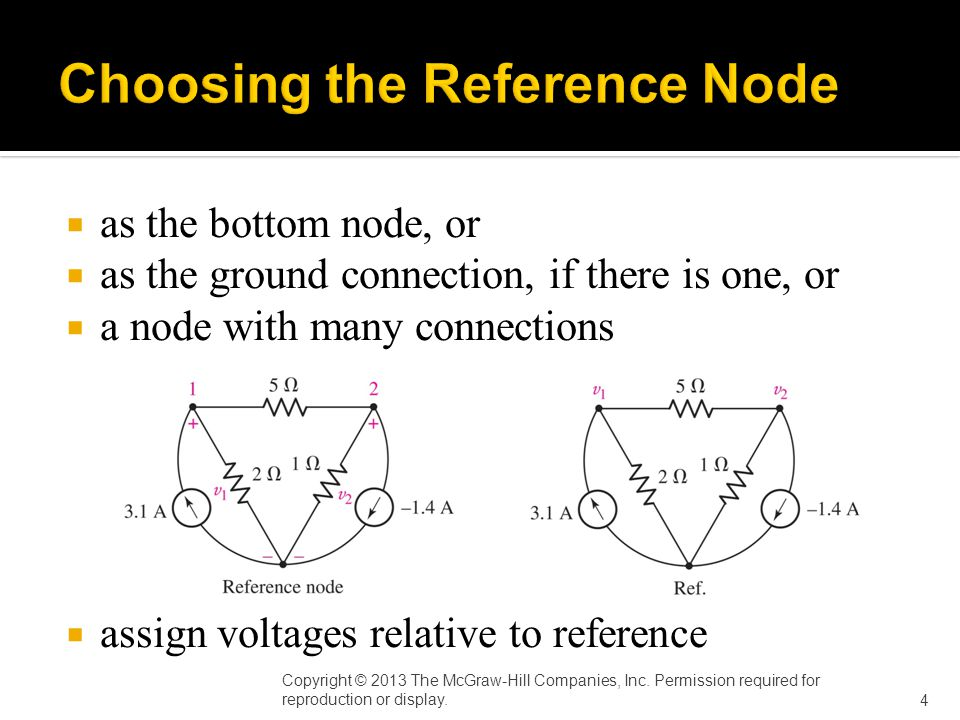  as the bottom node, or  as the ground connection, if there is one, or  a node with many connections  assign voltages relative to reference Answer: i 3 (t) = sin t V Copyright © 2013 The McGraw-Hill Companies, Inc.