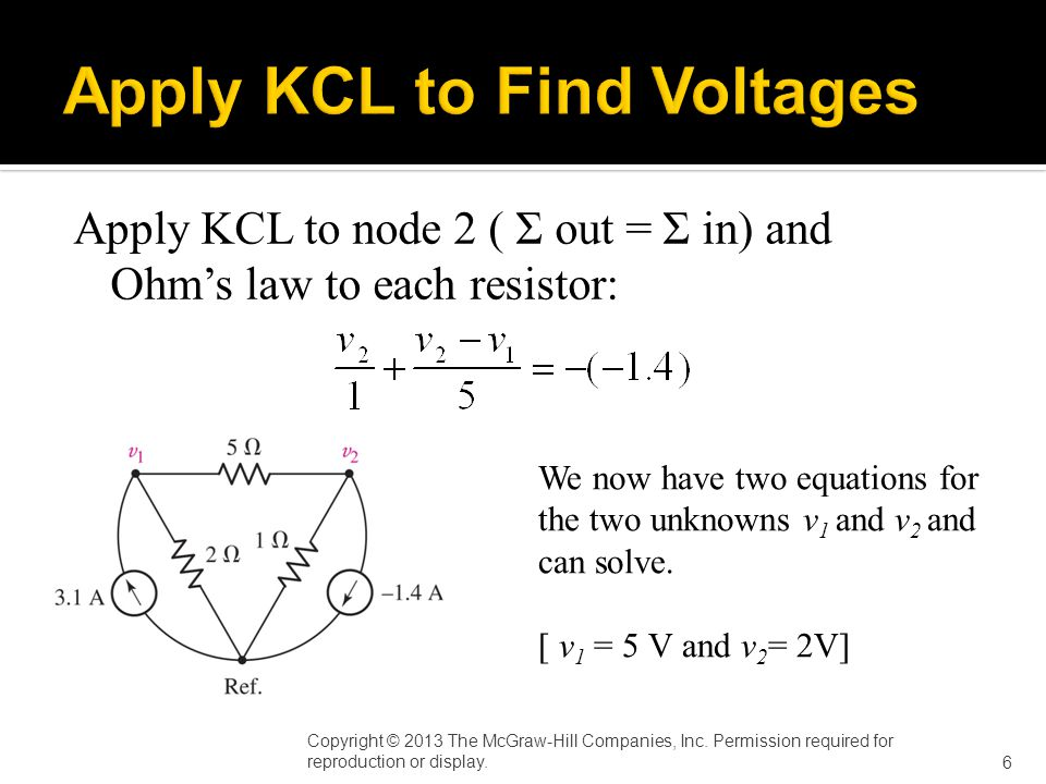 Apply KCL to node 2 ( Σ out = Σ in) and Ohm's law to each resistor: Copyright © 2013 The McGraw-Hill Companies, Inc.