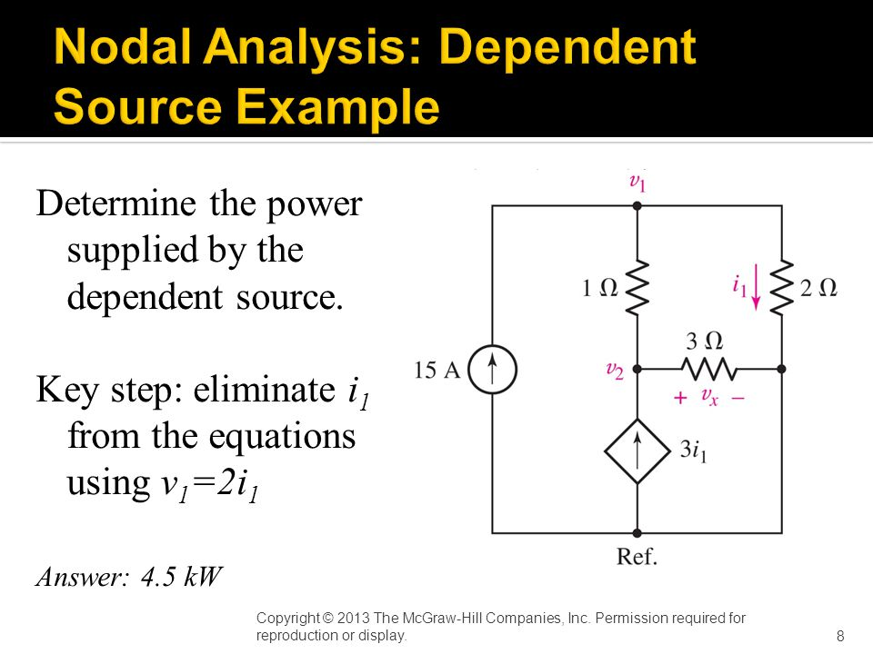 Determine the power supplied by the dependent source.