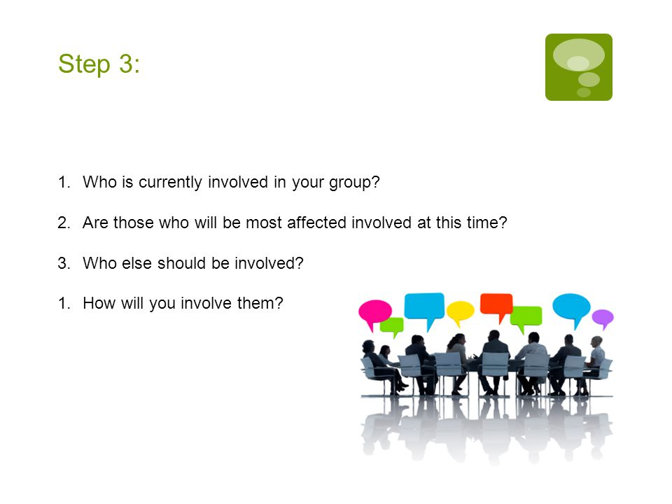 Step 3: 1.Who is currently involved in your group.