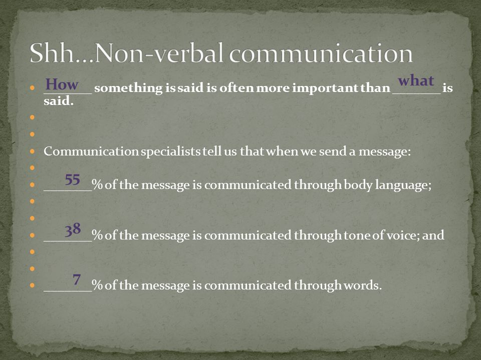 _______ something is said is often more important than _______ is said. Communication specialists tell us that when we send a message: _______% of the