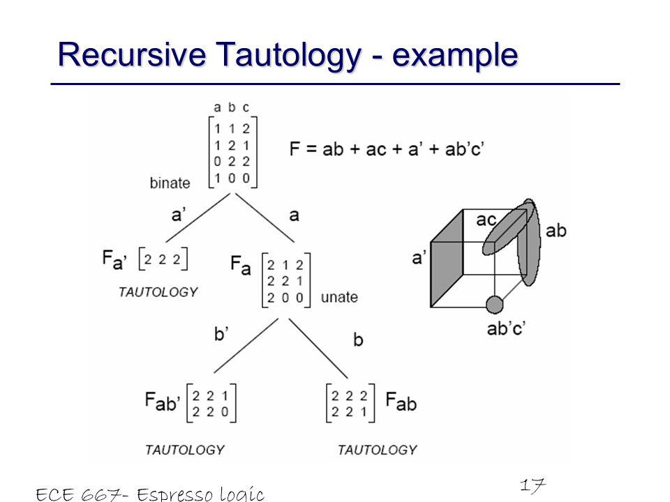 ECE 667- Espresso logic minimizer 17 Recursive Tautology - example