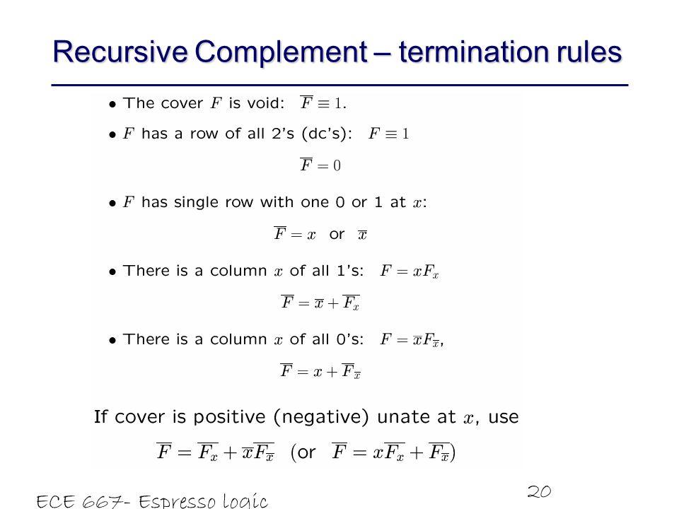 ECE 667- Espresso logic minimizer 20 Recursive Complement – termination rules