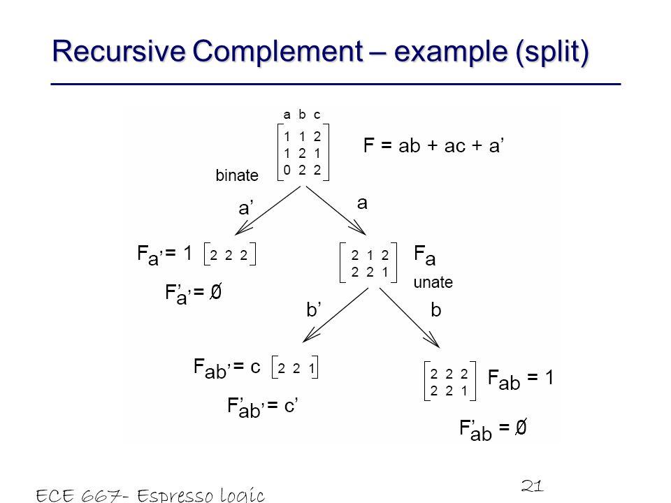ECE 667- Espresso logic minimizer 21 Recursive Complement – example (split)