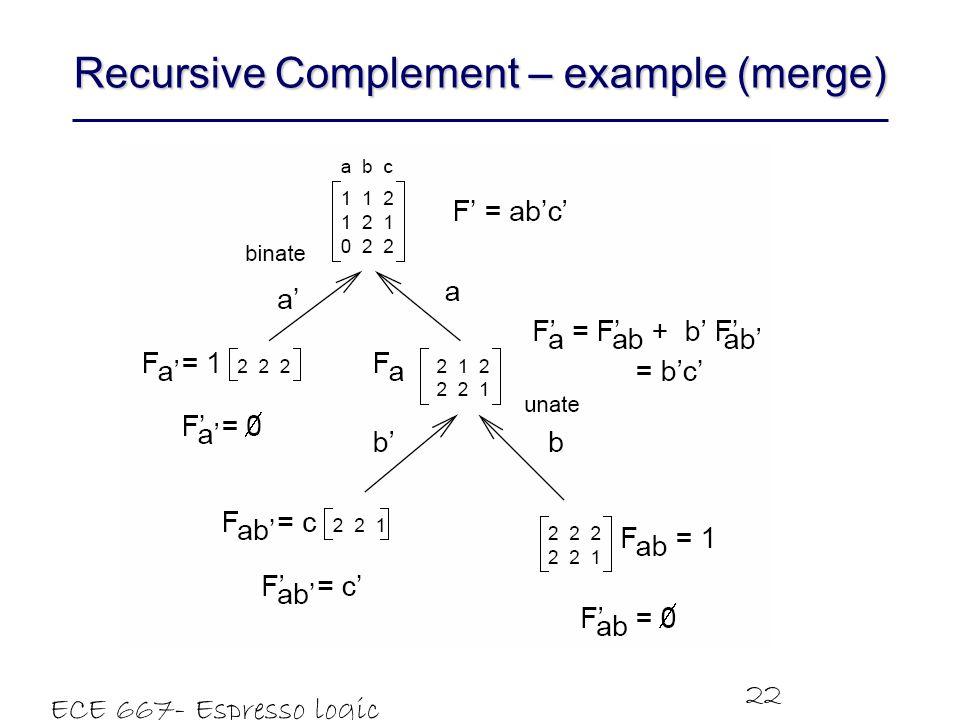 ECE 667- Espresso logic minimizer 22 Recursive Complement – example (merge)
