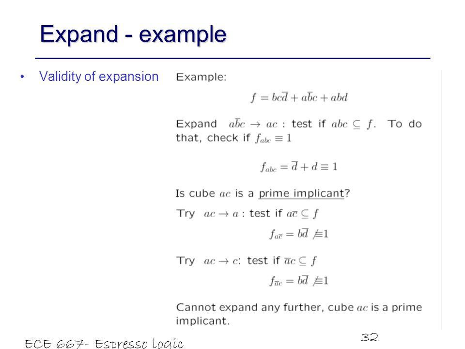 ECE 667- Espresso logic minimizer 32 Expand - example Validity of expansion