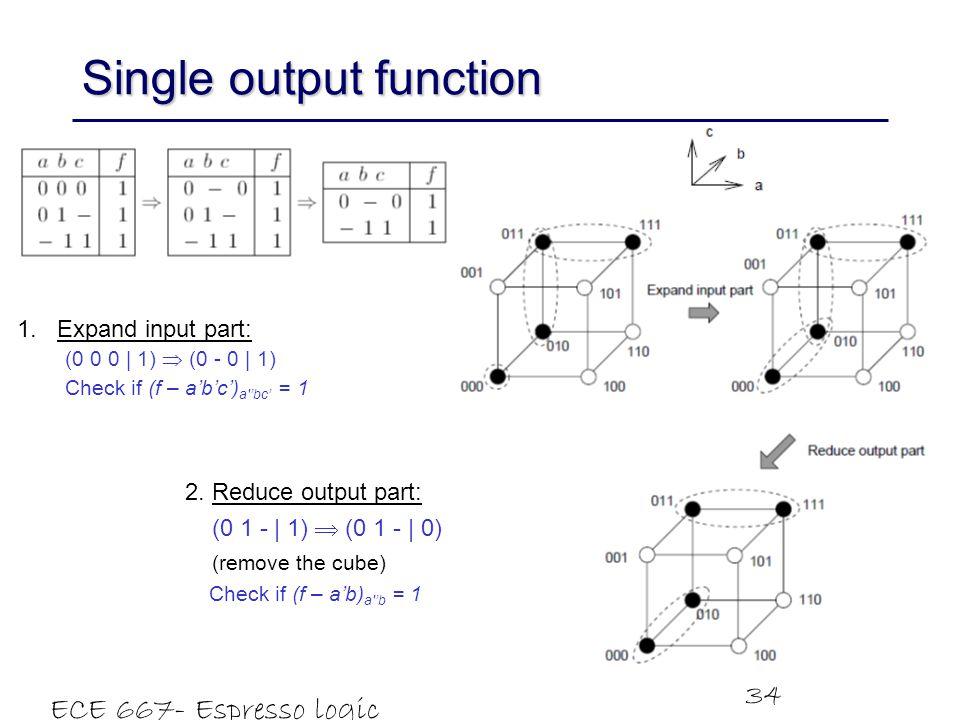 ECE 667- Espresso logic minimizer 34 Single output function 1.Expand input part: (0 0 0   1)  (0 - 0   1) Check if (f – a'b'c') a 'bc' = 1 2.