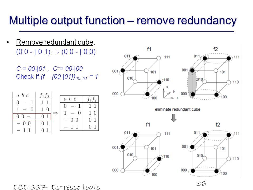 ECE 667- Espresso logic minimizer 36 Multiple output function – remove redundancy Remove redundant cube: (0 0 -   0 1)  (0 0 -   0 0) C = 00- 01, C ~ = 00- 00 Check if (f – {00- 01}) 00- 01 = 1